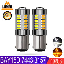 <b>10x 1157 BAY15D</b> P21/5W T20 7443 Led Light White Amber 4014 ...