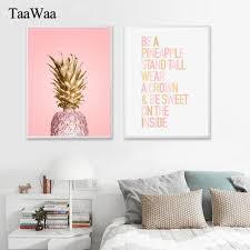 <b>TAAWAA</b> Pink <b>Gold Pineapple Poster</b> Quote Wall Art Canvas ...