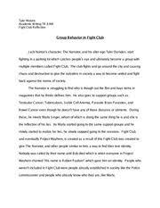 fight club essay draft            am aj laskaris       academic pages tyler essay fight club