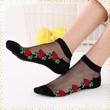 Fashion <b>Korean</b> Women Lace Socks Summer <b>Crystal</b> Glass <b>Silk</b> ...