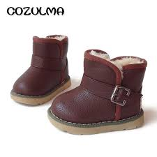 cozulma kids warm plush lining mid calf boots girls autumn winter shoes children flock size zip fashion 26 36