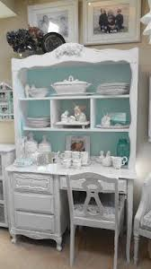 like this idea for the hutch we just got kallie white and turquoise desk chic office desk hutch