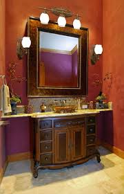 bathroom alluring red accents wall paint in luxury bathroom decoration feat classical vanity units with attractive vanity lighting bathroom lighting ideas