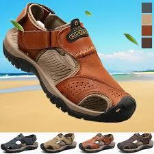 <b>Men's Summer</b> Wading Sandals Genuine <b>Leather</b> Fashion Beach ...