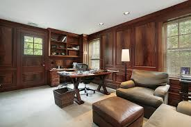 good looking interior office design joshta home designs accentuate brown finish varnished wooden work desk brown finish home office