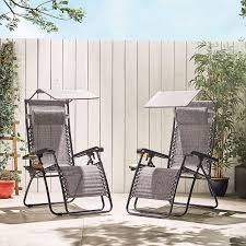 VonHaus Set of <b>2</b> Heavy Duty Textoline Zero Gravity <b>Chairs</b> with ...