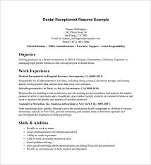 sample receptionist resume template     download free documents    dental receptionist resume example