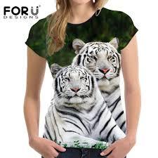 Online Shop <b>FORUDESIGNS</b> lion White tiger <b>Women T Shirt</b> 2018 ...