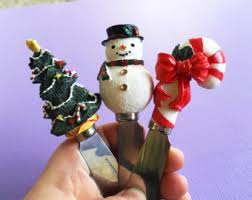 household dining table set christmas snowman knife: cheese knife set christmas decor cheese server stainless steel knife set christmas tree decor knife snowman decor knife serving knives
