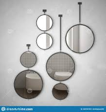 <b>Round</b> Mirrors <b>Hanging</b> On The Wall Reflecting Interior Design ...