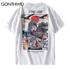 GONTHWID Chinese Stone Lion Printed Streetwear T Shirts <b>2019</b> ...