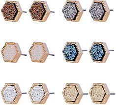 JOYAGIFT Orthohexagnal Resin Druzy Stud Earrings ... - Amazon.com