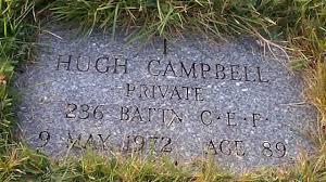 HUGH CAMPBELL (1)PRIVATE 237 BATT'N C.E.F. 9 MAY 1972 Age 89 - HughJCampbellPrivate