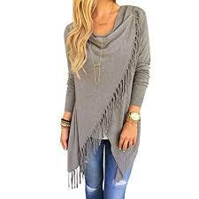 <b>Chic Long Sleeve Solid</b> Asymmetric Hem Tassel Shirt Tops for Women