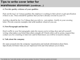 warehouse storeman cover letter      tips to write cover letter for warehouse