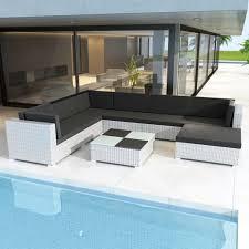 D-Shop <b>8 Piece Garden Lounge</b> Set with Cushions Poly Rattan White