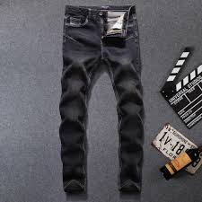 New Arrival Fashion Mens Black Jeans Elastic Trousers Male Slim ...