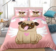 <b>Rainbow Pug</b> Bedding set angel dpg Duvet Cover pink for Girls Quilt ...