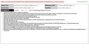 board operator resumes  amp  templates formats   radio board operator announcer   resume sample  job