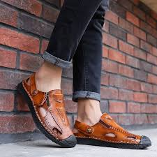 Menico <b>Men Hand Stitching</b> Soft Outdoor Closed Toe Leather <b>Sandals</b>