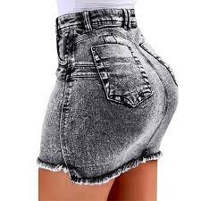 Koodred <b>Women's High</b> Waisted Short Bodycon Mini <b>Denim Jean</b> ...