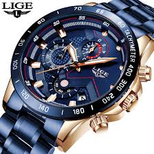 LIGE 2020 New <b>Fashion Mens Watches</b> with Stainless Steel <b>Top</b> ...