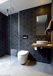 bathroom design hexagonal black tiles flooring