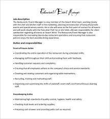 restaurant manager job description templates – free sample    restaurant event manager job description example pdf free download