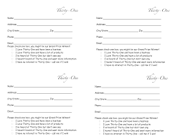thirty one door prize form drawing slips 4 per page my thirty templates · thirty one door prize