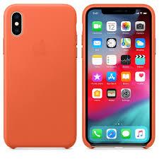Чехол-<b>накладка Apple Leather Case</b> - Sunset оранжевый, для ...
