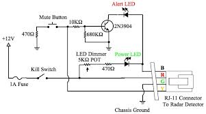 diy radar detector hardwire smartcord functions escort here s my version modifications i ve added a kill switch potentiometer for dimming the leds increase the resistance and use a 1 amp inline fuse