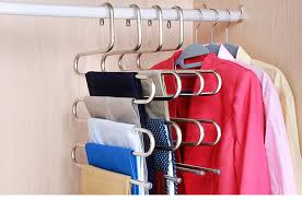 5 layers S Shape <b>MultiFunctional</b> Clothes Hangers Pants Storage ...