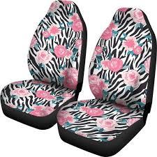 Black White <b>Zebra Floral</b> Pattern <b>Print</b> Universal Fit Car Seat Covers