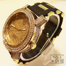 techno pave watch men luxury iced out gold finished hip hop techno pave rapper s rubber band watch