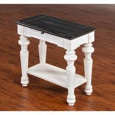 <b>European</b> Cottage Charcoal <b>Gray</b> & White Chair Side Table | RC ...