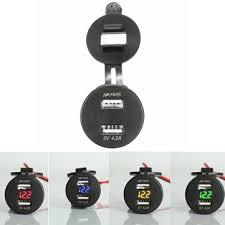 <b>12</b>-<b>24v dual</b> usb 5v 4.2a charger <b>motorcycle</b> led volt meterr volt ...