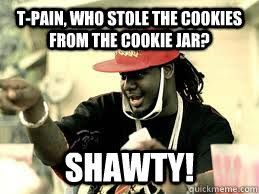 T-Pain, who stole the cookies from the cookie jar? SHAWTY ... via Relatably.com