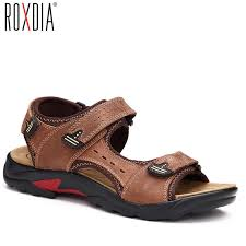 ROXDIA <b>mens</b> beach <b>sandal</b> genuine <b>cow leather</b> summer <b>men</b> ...