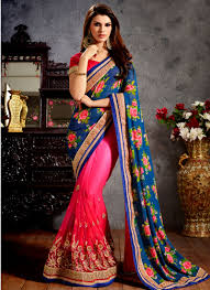 beauteous blue and rose pink lace work faux georgette designer half n half saree for party beauteous pink blue