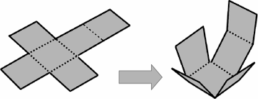 Image result for how to change a 2D t shaped paper into 3D cube