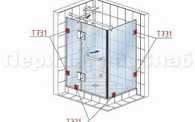 t731 PC <b>коннектор</b> для душевой кабины стена-стекло 90° с <b>двумя</b> ...