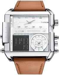 JSDDE Men's Brown Square Digital Electronic <b>Genuine Leather</b> ...