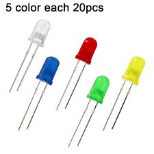 <b>100pcs 5mm LED Diode</b> 5 mm Assorted Kit White Green Red Blue ...