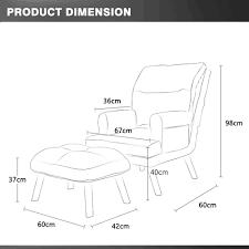 Innohut Adjustable <b>Single Nordic Lazy Sofa</b> with Foot Stool Fabric ...