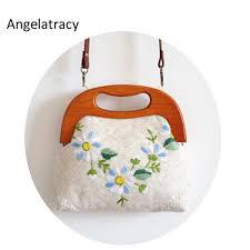 <b>Angelatracy</b> Embroidery Handbag <b>Women</b> Handmade Tote Flowers ...