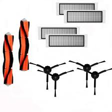 <b>2Pcs Main Brush</b> + 4Pcs Hepa Filter+4Pcs Black Side Brush for ...