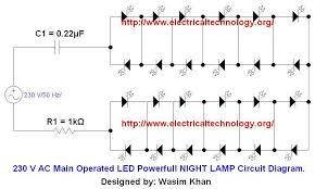 led circuit diagram the wiring diagram 230 v 50hz ac or 110v 60hz main operated led powerful night lamp