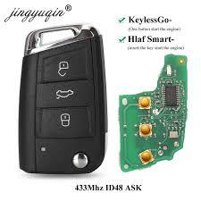 <b>jingyuqin</b> Keyless go/Half <b>Smart Remote</b> Key 434MHz MQB ID48 for ...