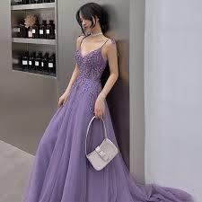 Affordable <b>Lavender Evening Dresses 2019</b> A-Line / Princess V ...