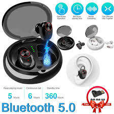 <b>TWS Bluetooth 5.0</b> True Wireless Earbuds with Mic Charging Case ...